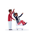 man carrying trolley cart with woman happy african vector image