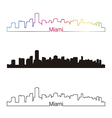 Miami skyline linear style with rainbow vector image vector image