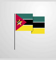mozambique waving flag design background vector image vector image