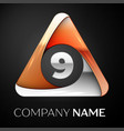 number nine logo symbol in the colorful triangle vector image vector image