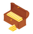 old wooden chest with gold bars isolated on white vector image vector image
