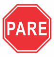 pare traffic sign vector image vector image