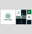 pine tree and river logo and business card vector image