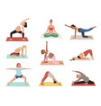 pregnancy yoga relax women different asana poses vector image