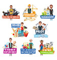 profession and job search icons staff hiring vector image vector image