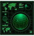 Radar screen with world map vector image vector image