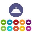 Restaurant cloche set icons vector image