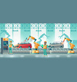 robotized car factory cartoon concept vector image