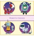 Robots friend four cartoon character vector image vector image