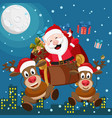 santa claus and two deer are flying on a sleigh vector image