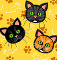 Seamless cartoon cat pattern over yellow vector image vector image