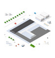 set isometric objects vector image vector image