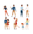 set man and women in casual clothes and with vector image