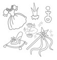 set of magic objects isolated coloring page for vector image