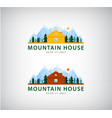 set of mountain houses for holidays logos vector image
