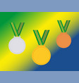 set of winner medals with brazil ribbon isolated vector image vector image