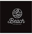 simple circular line art beach and sea logo vector image vector image