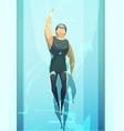 swimmer retro cartoon composition vector image vector image