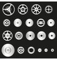 Various silver metal cogwheels parts of watch