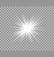 white luminous transparent light flash light vector image vector image