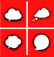 white speech clouds with dotted shadow on red vector image