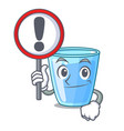 with sign character glass of water for drink vector image