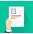 CV application paper sheet business man hand vector image