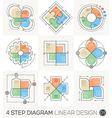 Circle Gear Arrows set Linear line design elements vector image