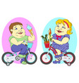 two fat people on bicycles vector image