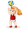 a caucasian girl playing volleyball vector image
