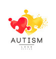 autism awareness concept with two pieces of puzzle vector image vector image