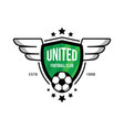 badge for the soccer team with a ball and wings on vector image