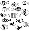 black and white hand sketch fishes vector image vector image