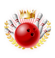 bowling sport emblem with red glossy ball vector image