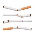 broken cigarettes set smoking kills quit vector image