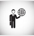 businessman runs world on white background vector image vector image