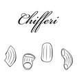 chifferi pasta authentic italian pasta hand drawn vector image vector image