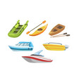 collection boats different types water vector image