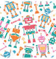 Cute retro robots colorful silhouette pattern vector image vector image