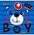 cute teddy bear boy head on striped background vector image vector image