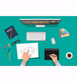 designer workplace desktop with tools vector image vector image
