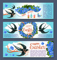 easter banner set with spring birds and flowers vector image