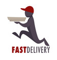 fast food delivery service isolated icon man in vector image vector image