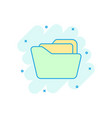 file folder icon in comic style documents archive vector image vector image