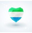 Flag of Sierra Leone in shape diamond glass heart vector image vector image