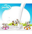 frame with milk splash funny cow swimming and vector image vector image