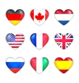 Glass Heart Flags of Countries Icon Set Isolated vector image vector image