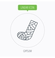 Gypsum or cast foot icon Broken leg sign vector image