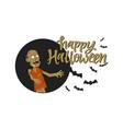 happy halloween poster - modern cartoon character vector image vector image