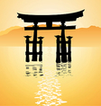 heritage shrine in Miyajima Japan vector image